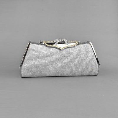 Salinas Glittering Hard Shell With Metal Frame Clutch Bag Hand Bag CPUQ Silver