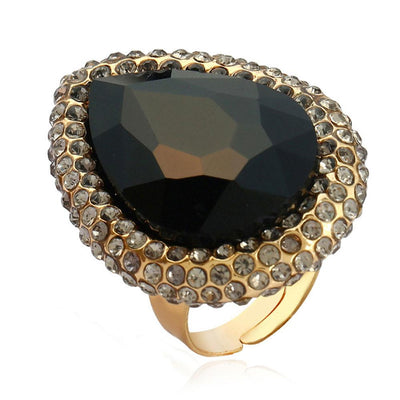 Exaggerated Crystal Opening Index Finger Ring Jewellery Sunshine China Black