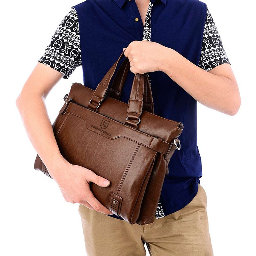 Polo Republica Men's Leather Sturdy Laptop/Office Bag Hand Bag Sunshine China