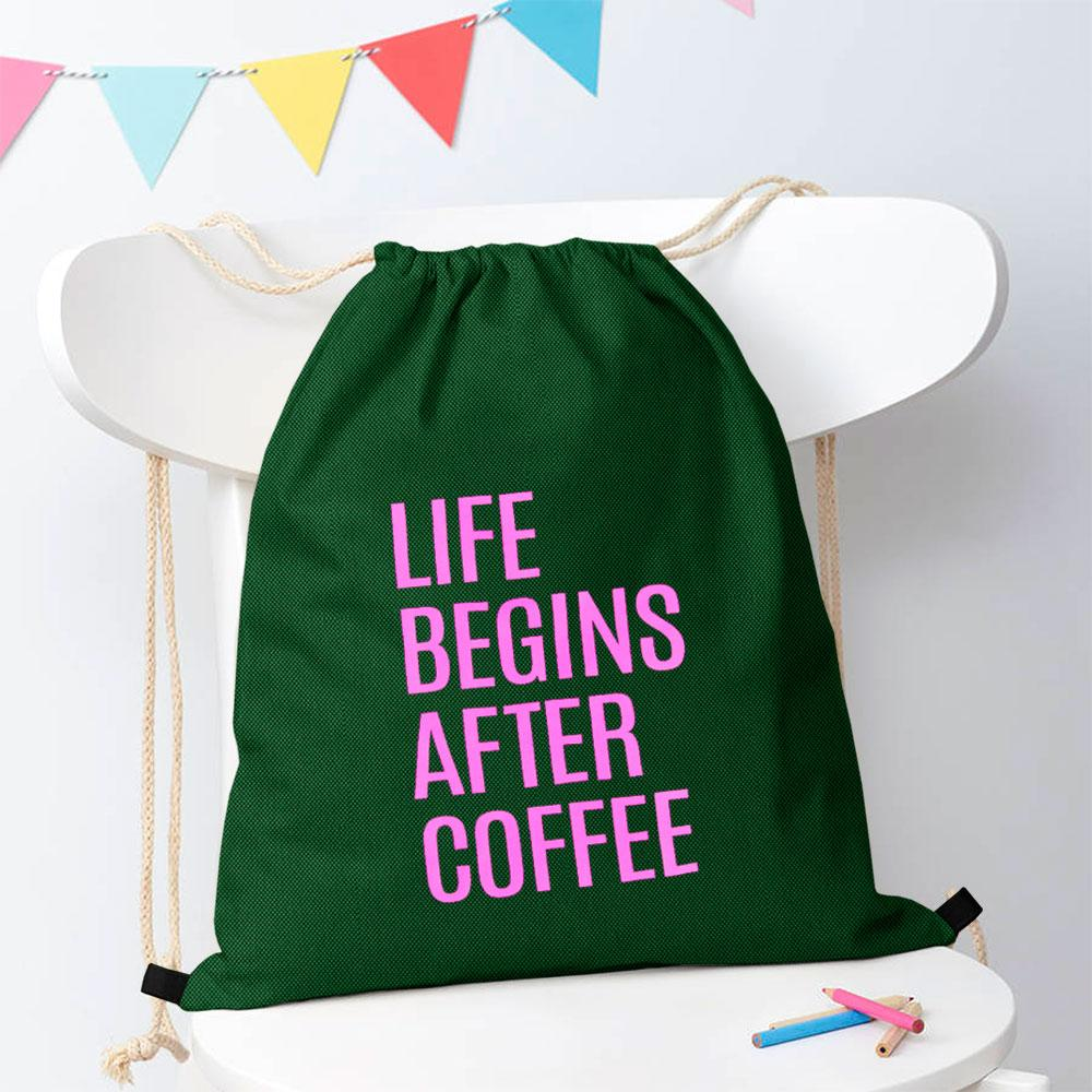 Polo Republica Life Begins After Coffee Drawstring Bag Drawstring Bag Polo Republica Bottle Green Magenta