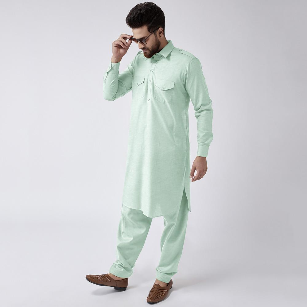Velvour Shahjahan American Cotton Unstitched Suit Men's Unstitched Suit YTC Sea Green