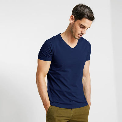 CSG Fabriciano V Neck Men's Solid Tee Shirt Men's Tee Shirt First Choice Navy S