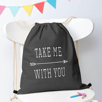 Polo Republica Take Me With You Drawstring Bag Drawstring Bag Polo Republica Charcoal White