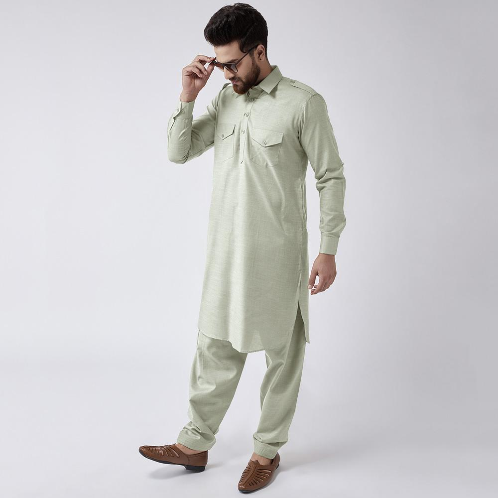 Velvour Shahjahan American Cotton Unstitched Suit Men's Unstitched Suit YTC Mint Green