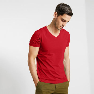 CSG Fabriciano V Neck Men's Solid Tee Shirt Men's Tee Shirt First Choice Red S