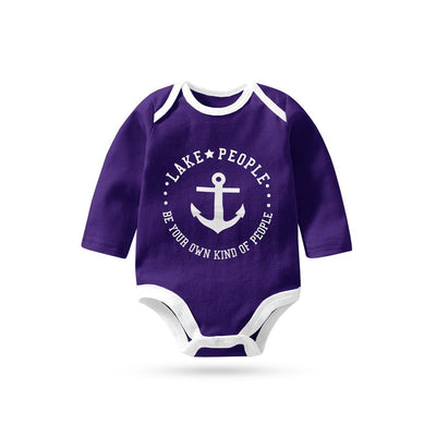 Polo Republica Lake People Long Sleeve Pique Baby Romper Babywear Polo Republica Purple White 0-3 Months