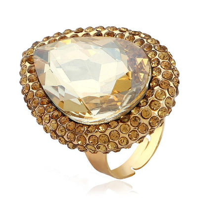 Exaggerated Crystal Opening Index Finger Ring Jewellery Sunshine China Gold