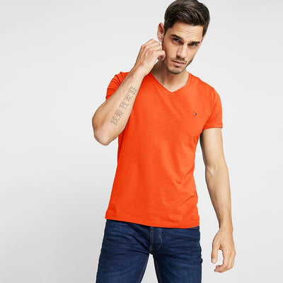 TMH Men's Classic V-Neck Tee Shirt Men's Tee Shirt Fiza Orange XS