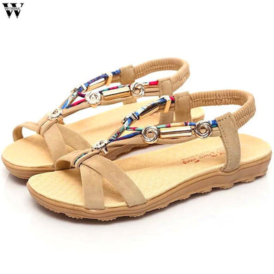 Women's Summer Beach Bohemian Beaded Flat Sandals Women's Shoes Sunshine China Mud EUR 35