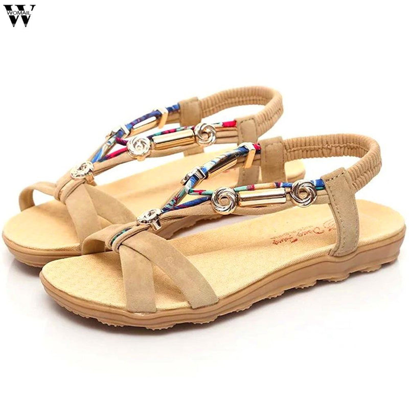 Women's Summer Beach Bohemian Beaded Flat Sandals