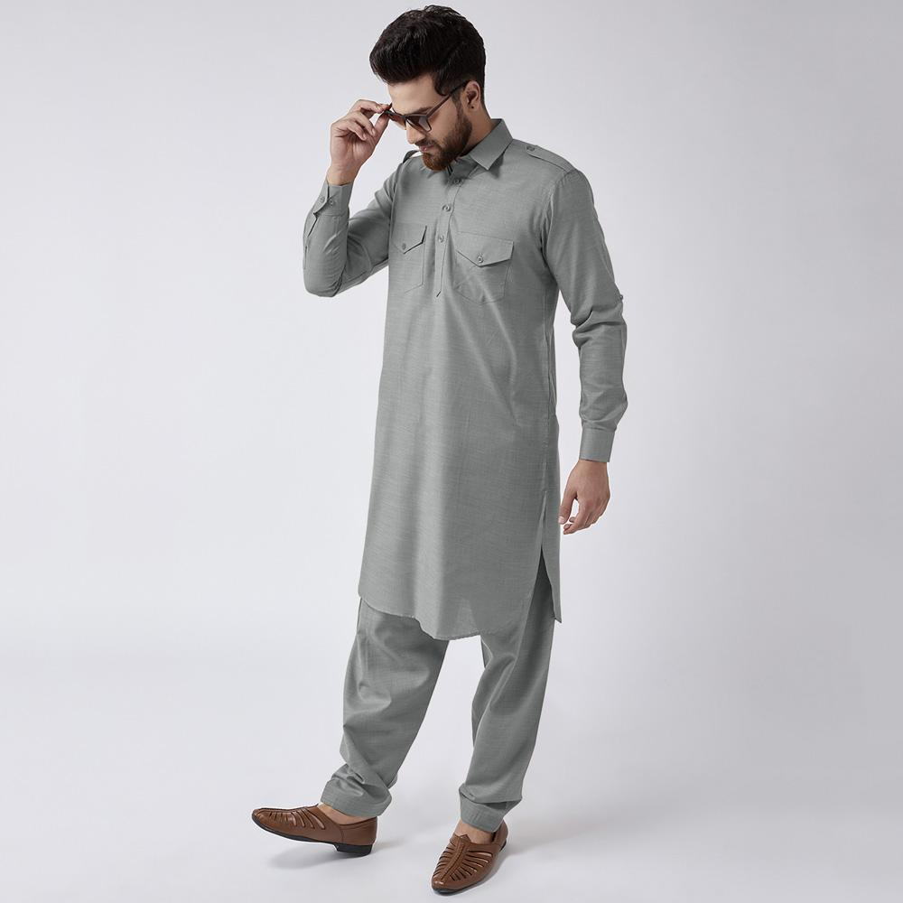 Velvour Shahjahan American Cotton Unstitched Suit Men's Unstitched Suit YTC Grey