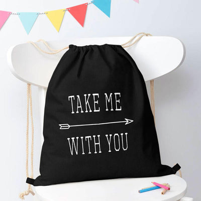 Polo Republica Take Me With You Drawstring Bag Drawstring Bag Polo Republica Black White