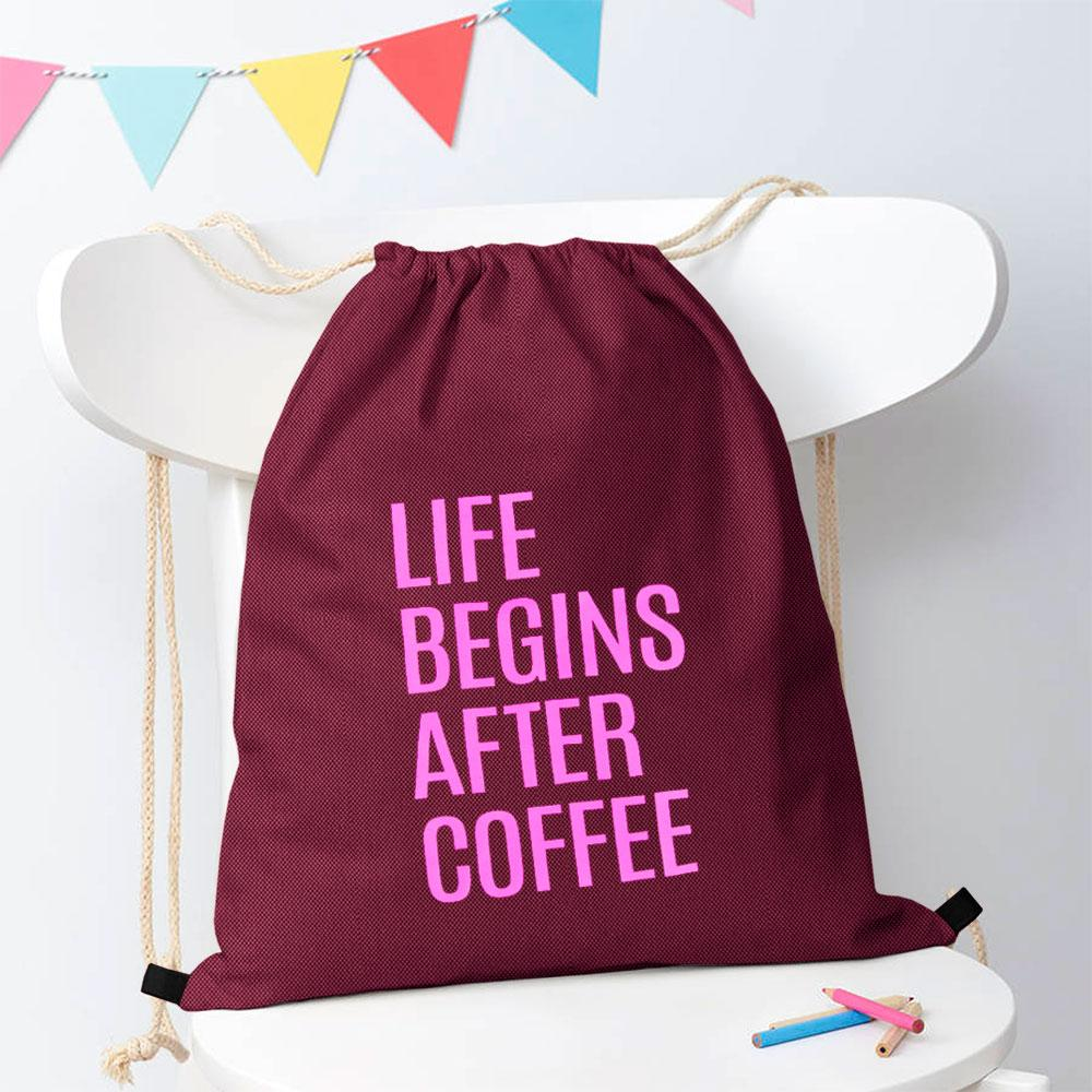 Polo Republica Life Begins After Coffee Drawstring Bag Drawstring Bag Polo Republica Burgundy Magenta