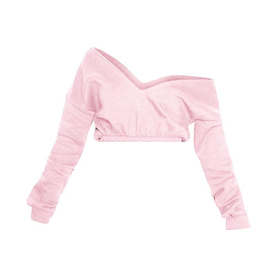 PLT Women's Crop Off Shoulder Sweat Shirt Women's Sweat Shirt AGZ Light Pink XS