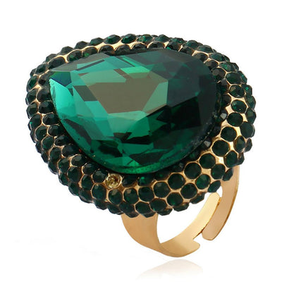 Exaggerated Crystal Opening Index Finger Ring Jewellery Sunshine China Green