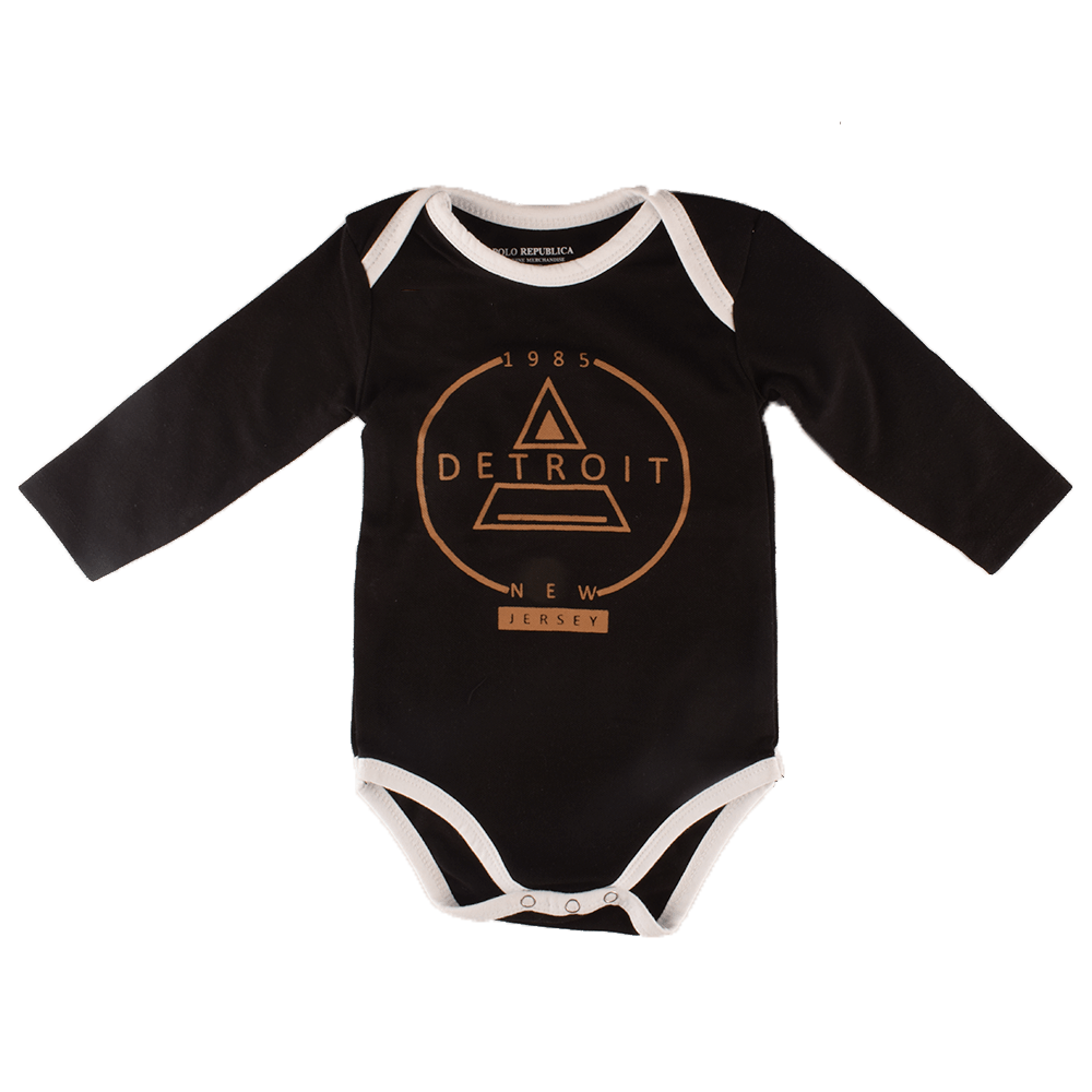 Polo Republica Detroit Long Sleeve Pique Baby Romper Babywear Polo Republica Black Brown 0-3 Months