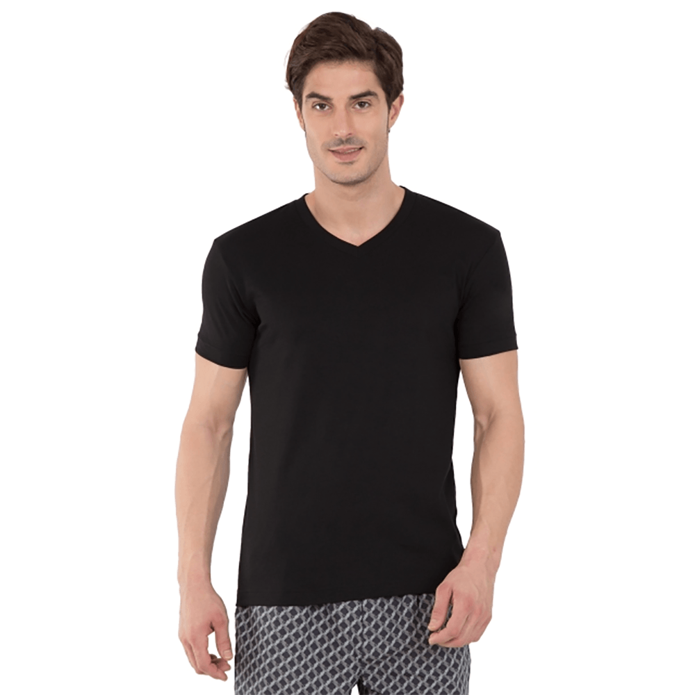 Pull&Bear Ritzy Style V-Neck Tee Shirt Men's Tee Shirt First Choice Black XS