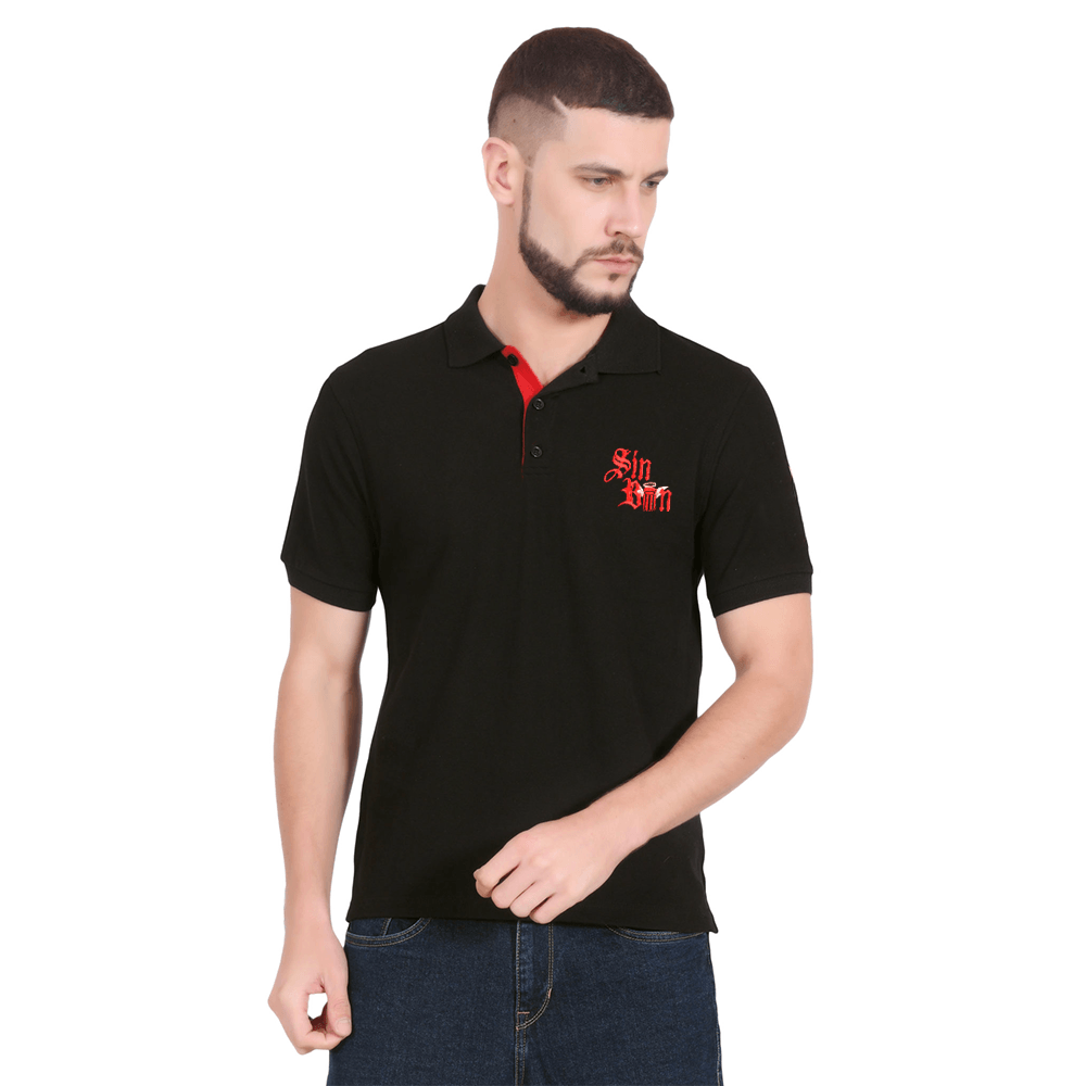 Sin Bin Men's Embroidered Pique Polo Shirt Men's Polo Shirt SNR Black S