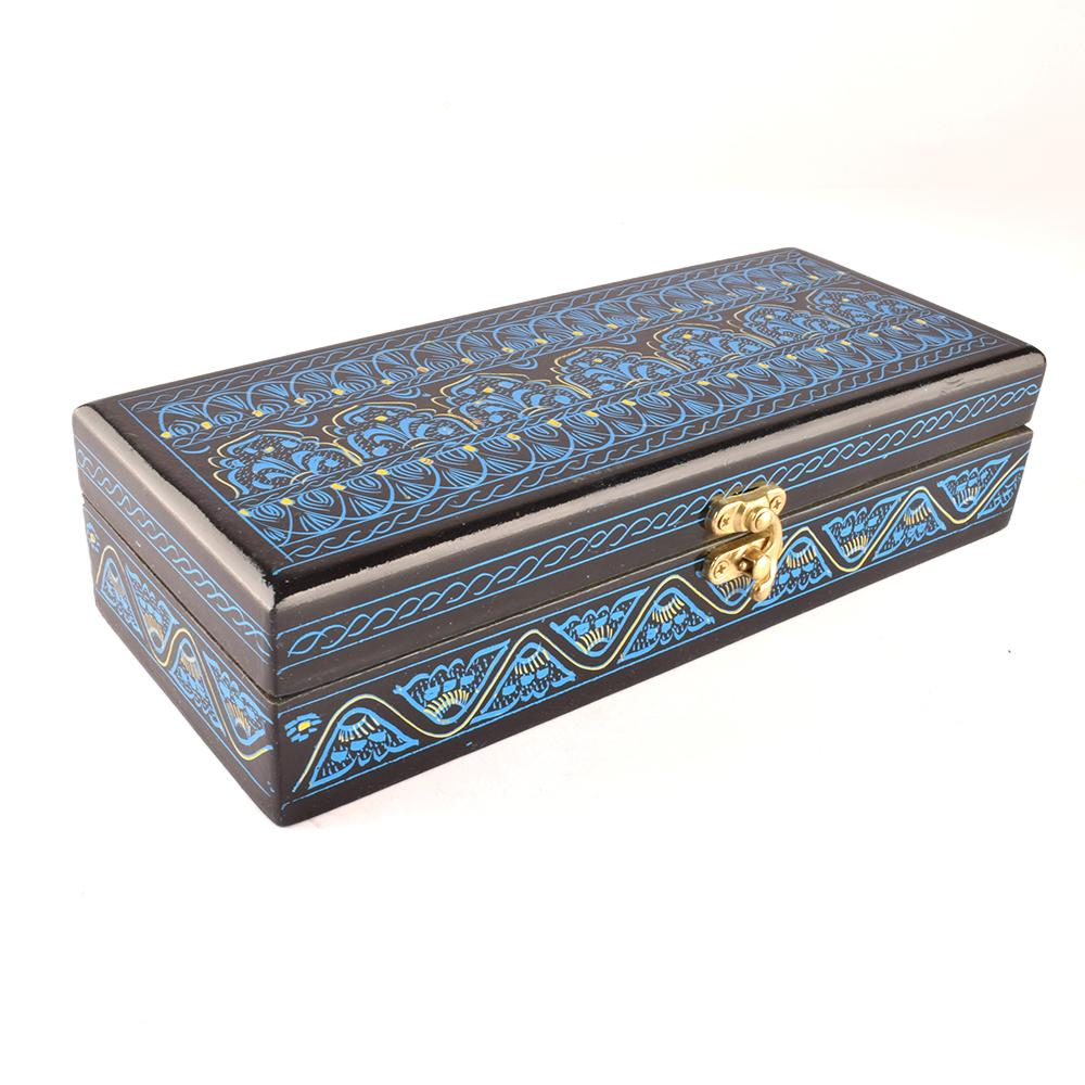 Decorous Rectangular Shaped One Piece Jewelry Box Jewellery SAK Blue