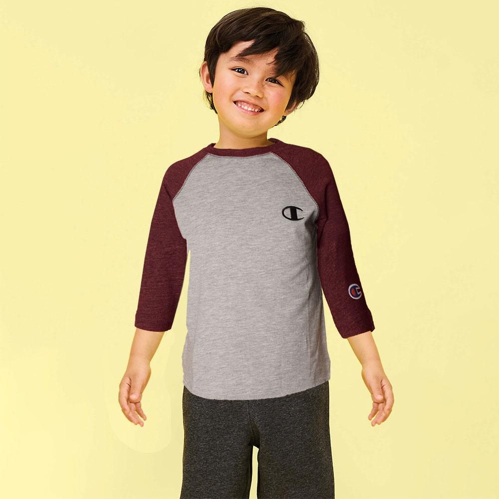 Kid's Champion Long Sleeves Tee Shirt Boy's Tee Shirt Fiza Heather Grey Burgundy 6 Months