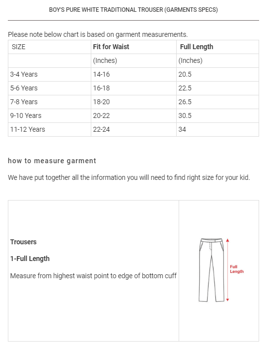 Boy's Pure White Conventional Trouser Boy's Trousers YTC