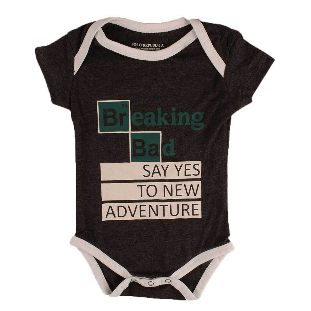 Polo Republica Kid's Breaking Bad Short Sleeve Romper Babywear Polo Republica Charcoal White 0-3 Months