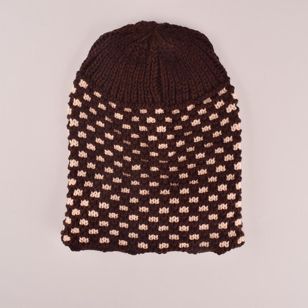 MB Sleek Doted Style Winter Knitted Beanie Cap Unisex Beanie MB Traders Chocolate