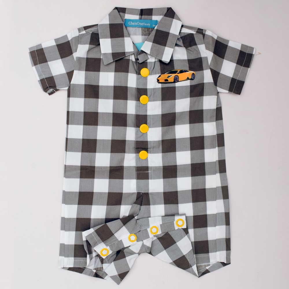 JTP Boy's Sam Gingham Checkered Romper romper SRK 6 Months