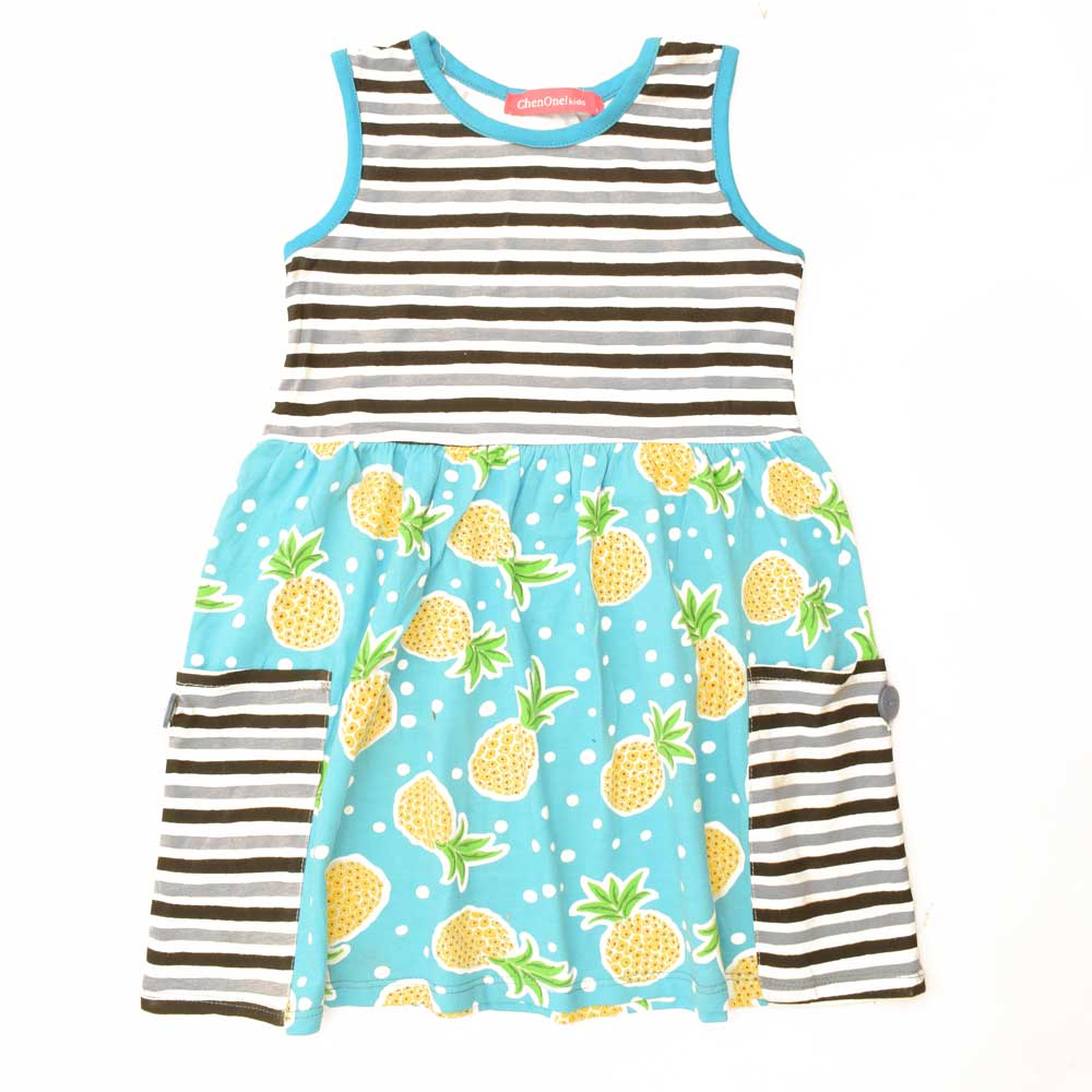 JTP Girl's Samantha Pineapple Sleeveless Casual Frock Girl's Frock SRK 2 Years