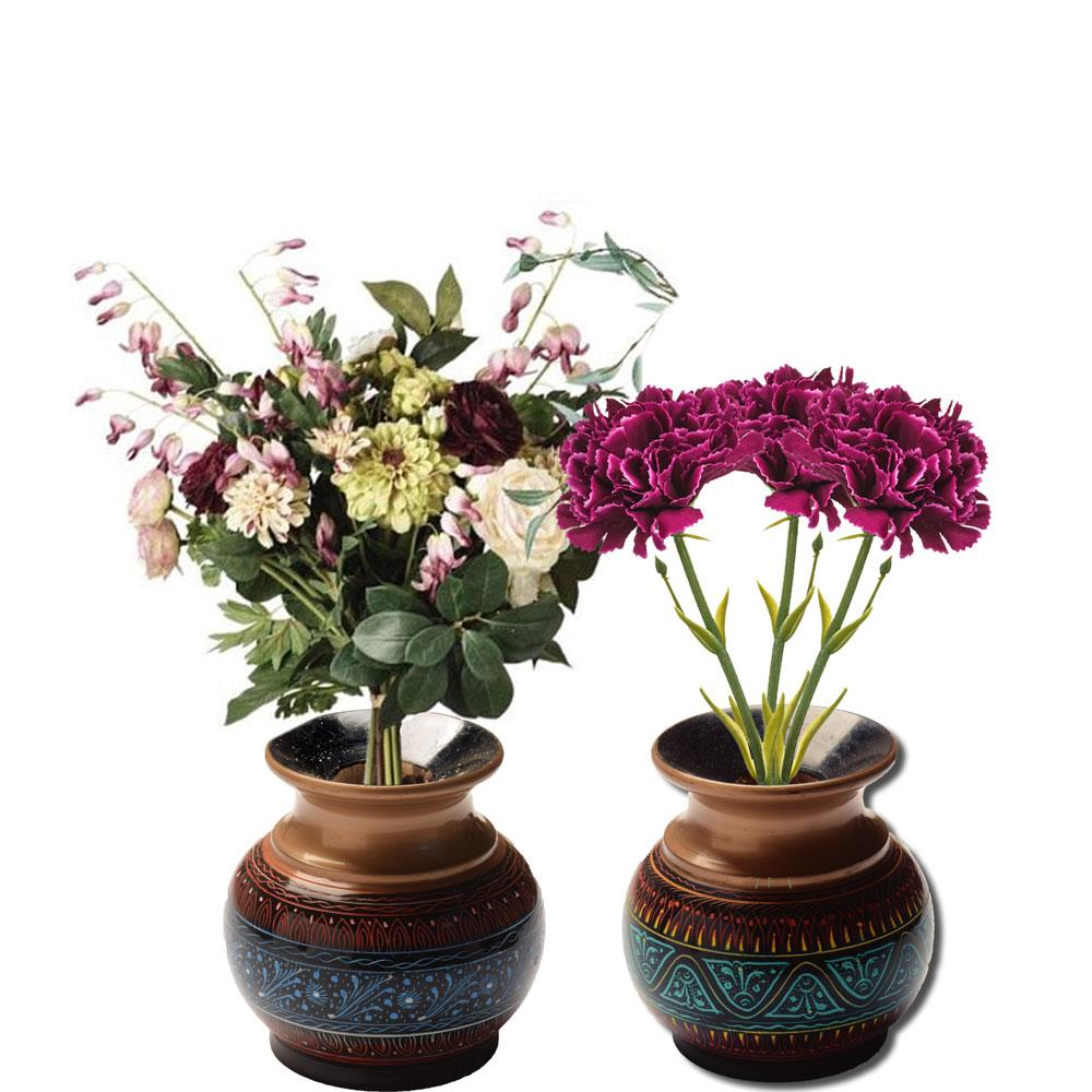 Handcrafted Bequest Lacquer Art Wooden Decorative Flower Pot Home Decor SAK