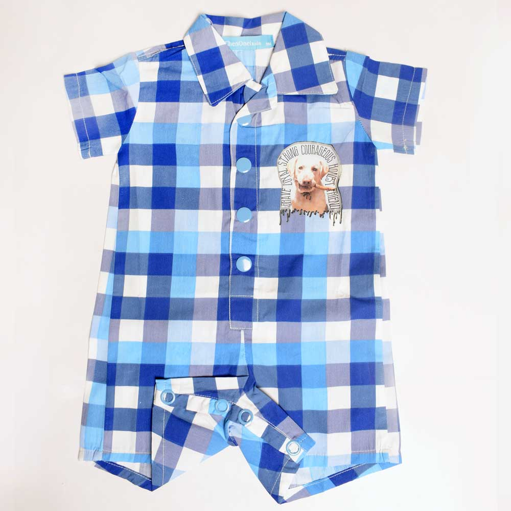 JTP Boy's Frankie Blue Checkered Romper Romper SRK 6 Months