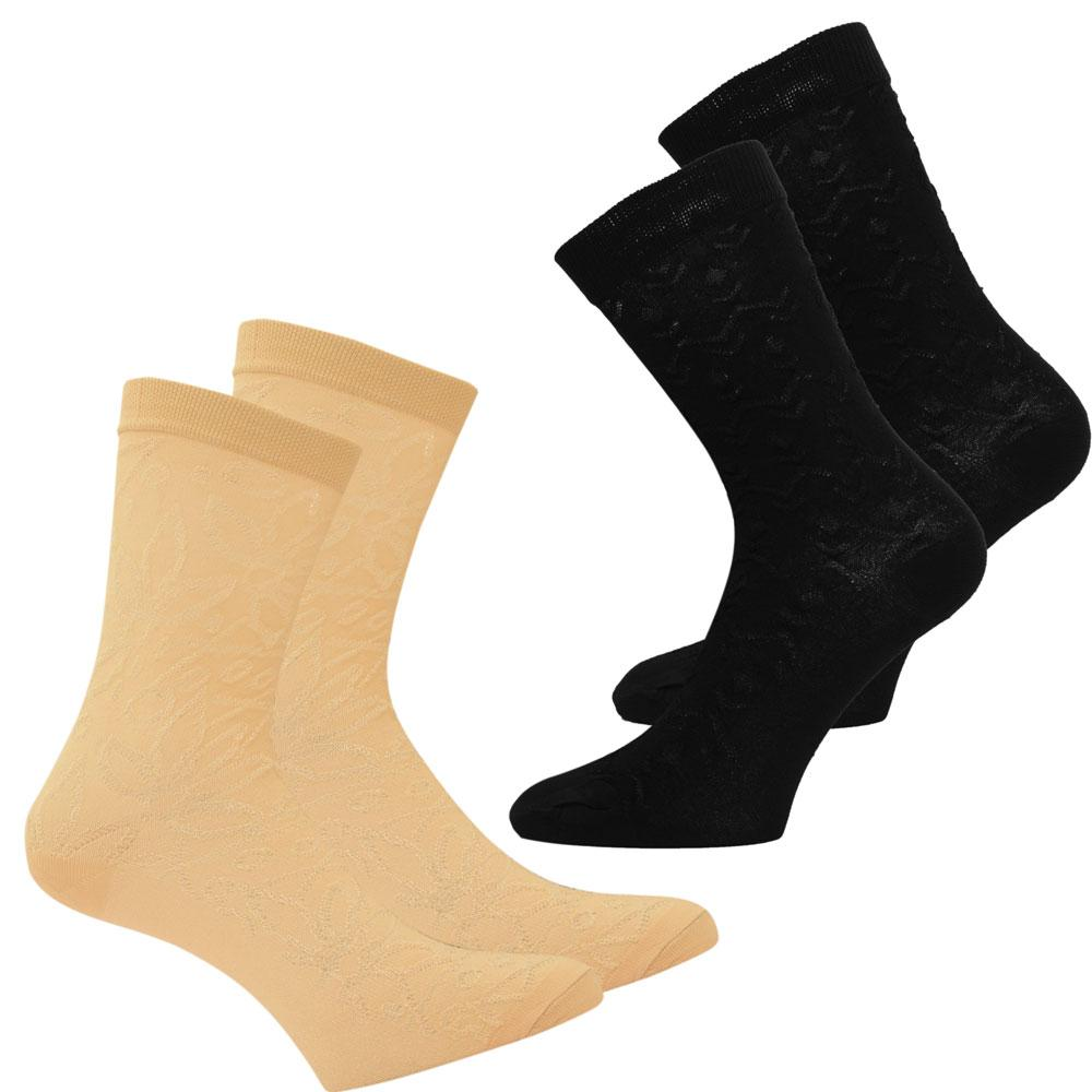 RKI Women's Rafael Embroidered Socks Pack of 2 Women's Accessories RKI Skin & Black EUR 34-38