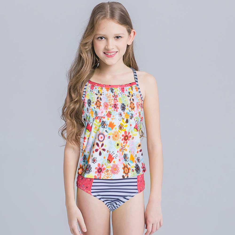 JTP Girl's Kelly Floral Tankini Swim Wear Girl's Swimsuit SRK 2T