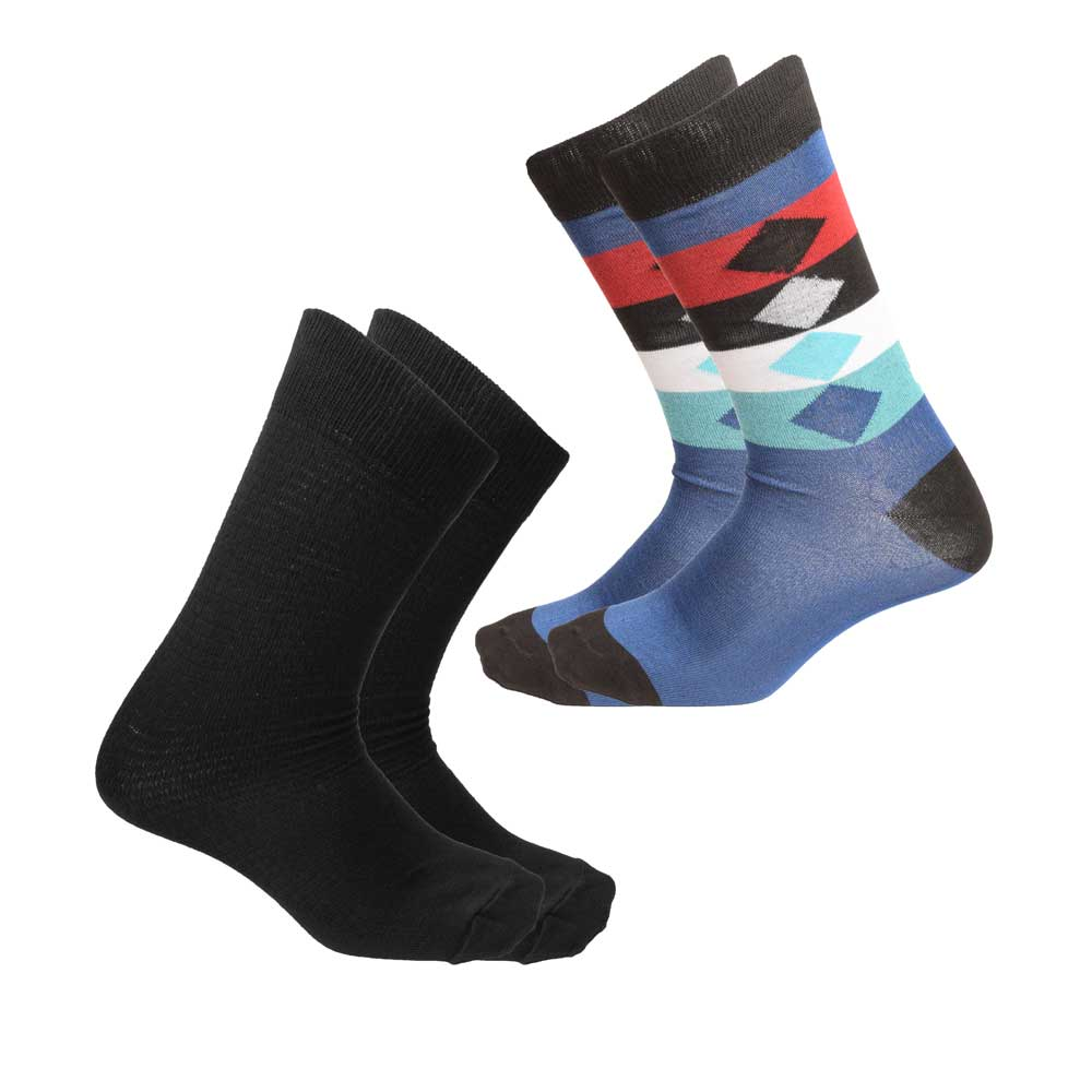 RKI Men's Coleman Contrast Socks Pack of 2 Socks RKI Assorted EUR 41-44