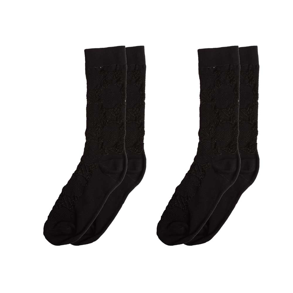 RKI Women's Dieppe Embroidered Socks Pack of 2 Socks RKI Black EUR 34-38