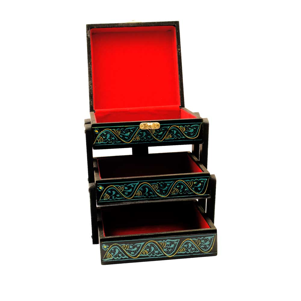 Handmade Lacquer Art Three Drawer Wooden Jewelry Box Jewellery SAK
