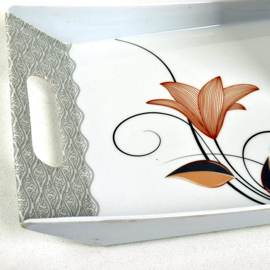 MB Melamine Flower Tea Coffee Biscuit Cake Serving Medium Tray - ExportLeftovers.com