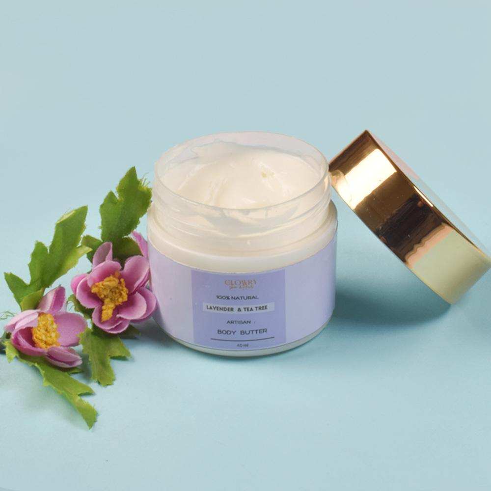Glowry Women's Organic 100% Natural Lavender & Tea Tree Body Butter Health & Beauty Bohotique