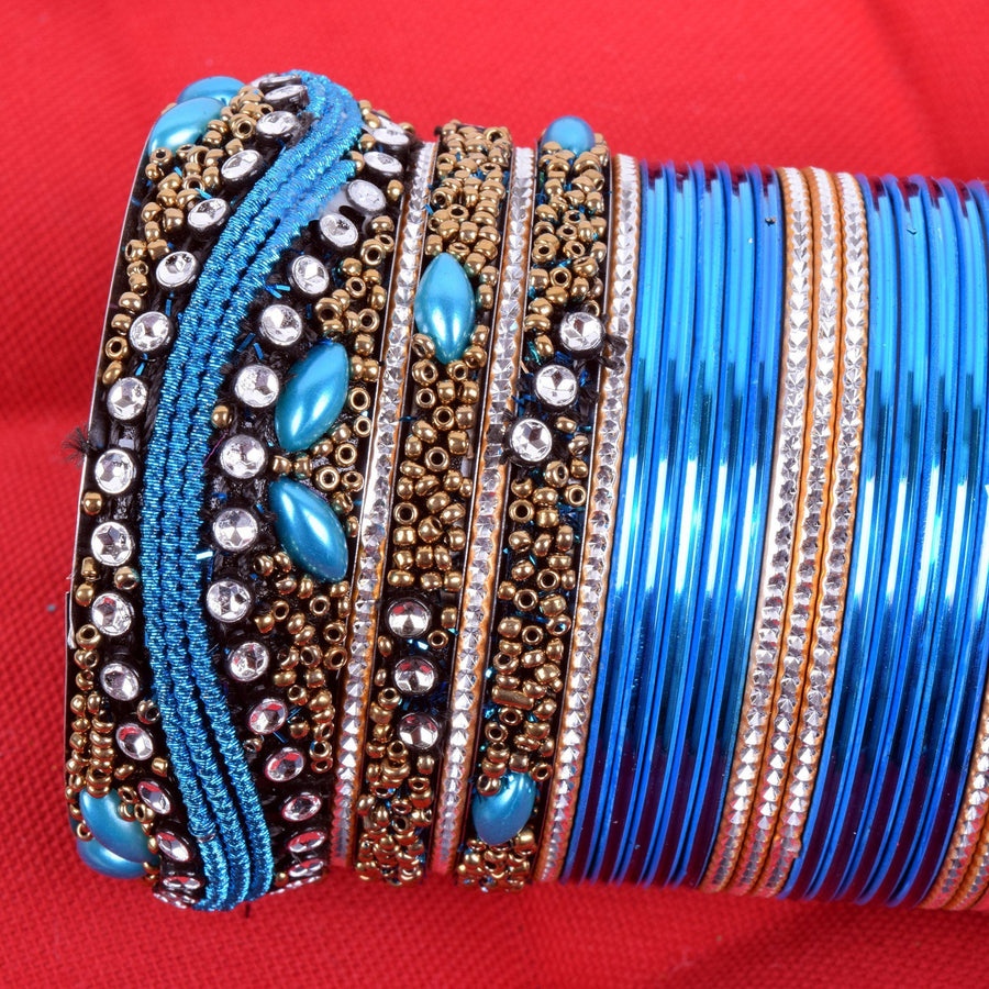 Women's Hand Made Fancy Matching Turquoise/Golden/Silver Stone Pack of 33 Metal+Glass Bangles Set - ExportLeftovers.com