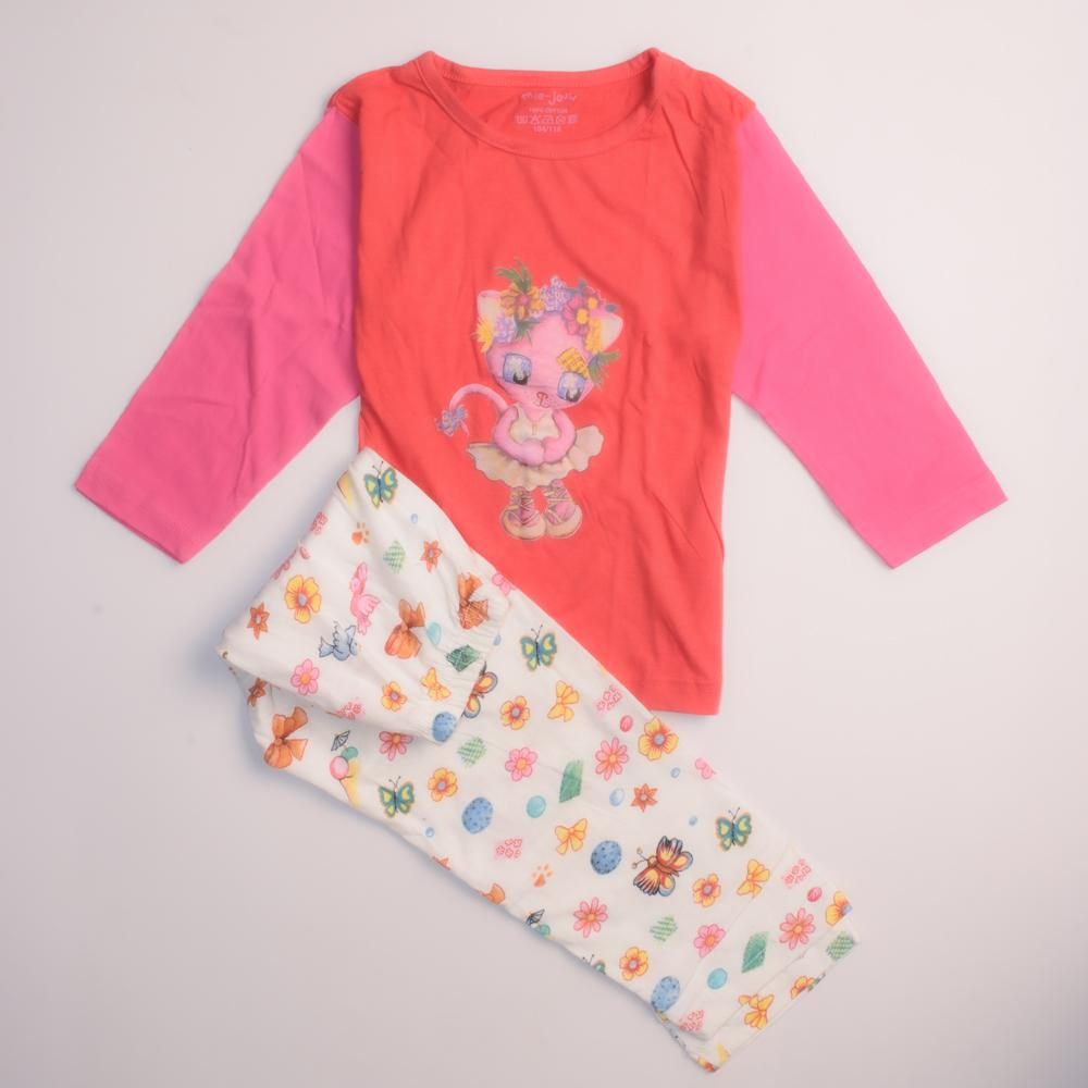 Girl's Mie-Jouw Kitty Printed Long Sleeve Baby Suit Babywear First Choice