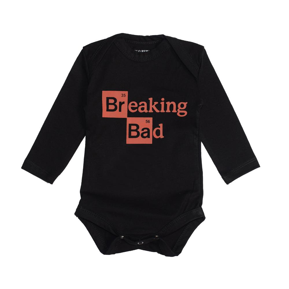 Polo Republica Lacombe Kid's Breaking Bad Printed Baby Romper Romper Polo Republica Black 0-3 Months