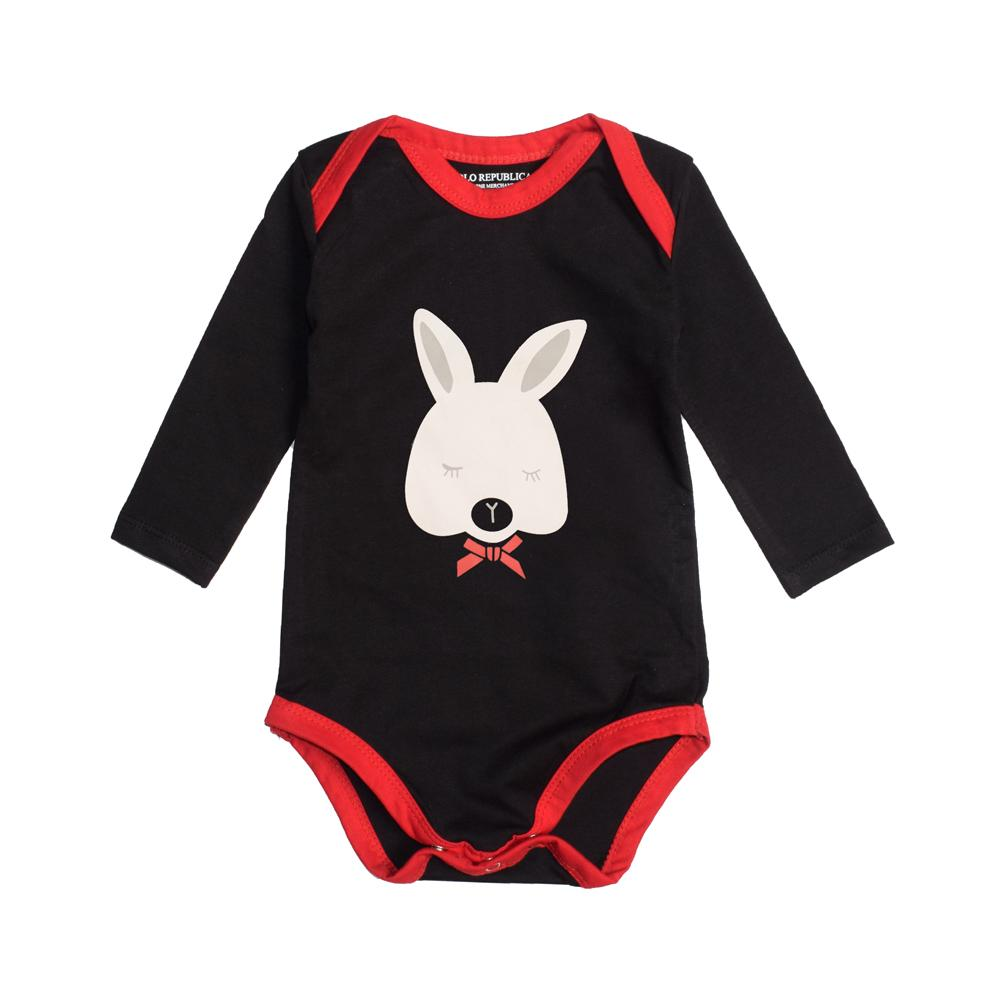 Polo Republica Prichard Long Sleeve Baby Romper Romper Polo Republica Black Red 0-3 Months