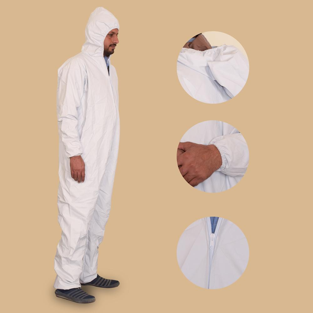 Unisex Washable Protective Coverall Hooded Suit Hazmat Suit Image White
