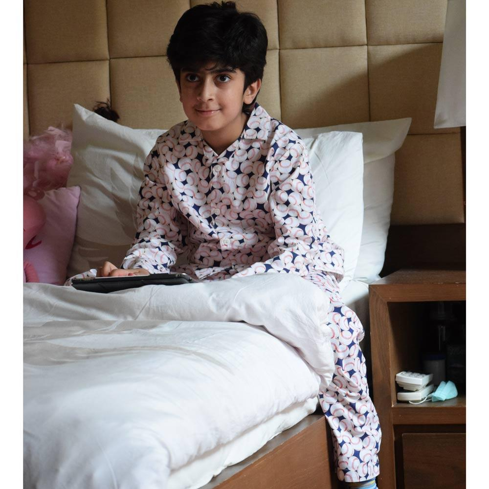 Safina Kid's Base Balls Printed Night Suit Boy's Sleepwear Image
