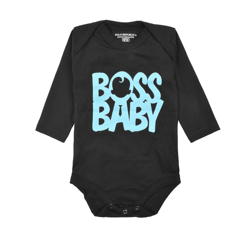 Polo Republica Boss Baby Long Sleeve Jersey Baby Romper Romper Polo Republica Black 0-3 Months