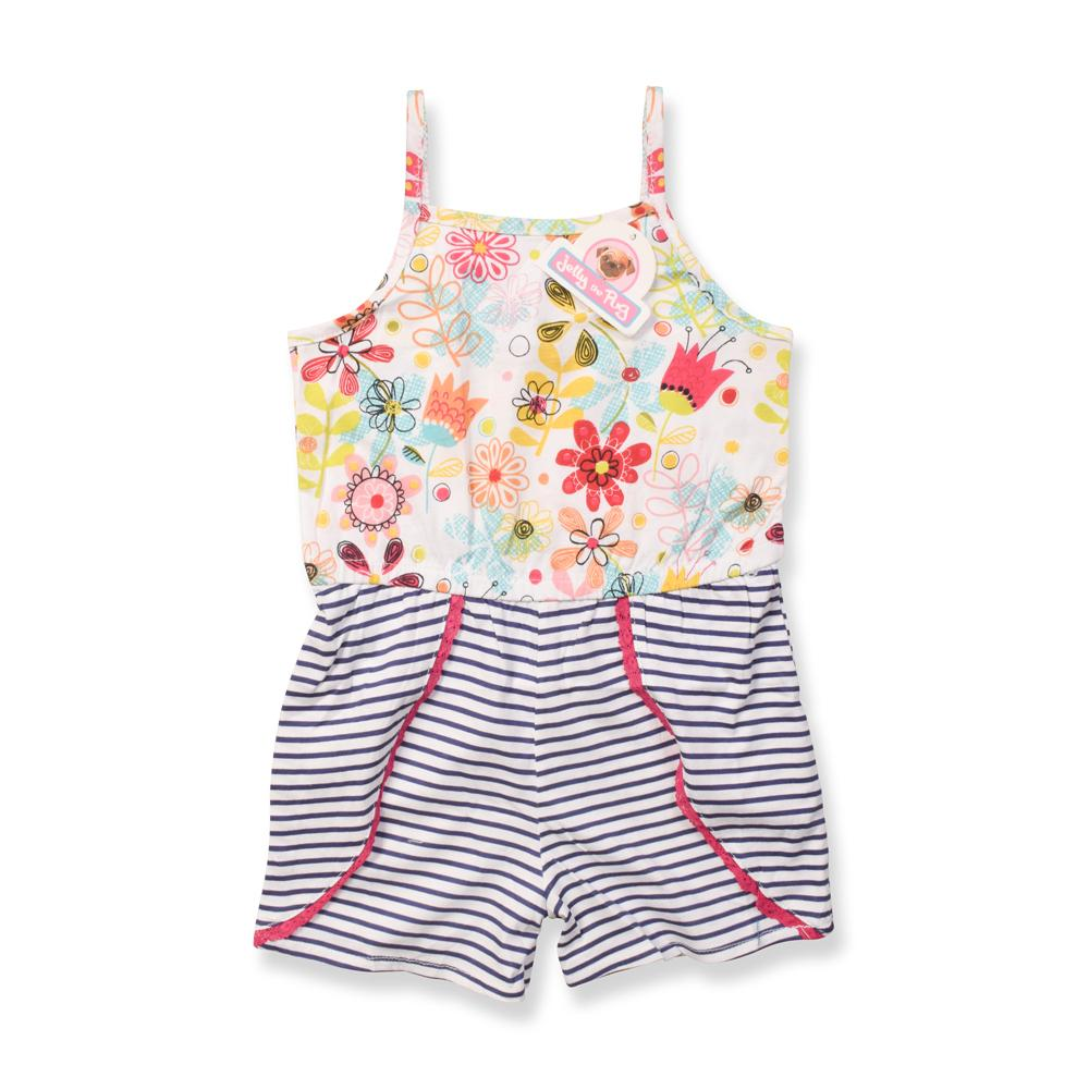 JTP Girl's Moana Tulips Striped Sleeveless Romper Romper SRK 2 Years