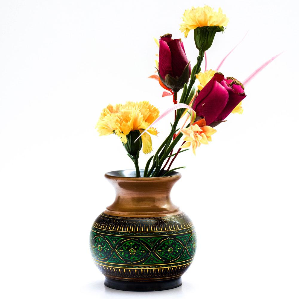 Handcrafted Lacquer Art Wooden Decorative Flower Pot Home Decor SAK D7