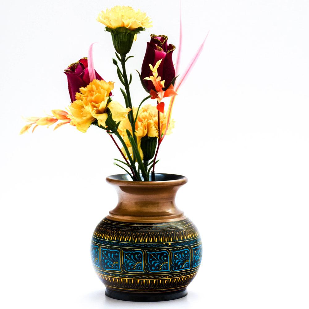 Handcrafted Lacquer Art Wooden Decorative Flower Pot Home Decor SAK D2