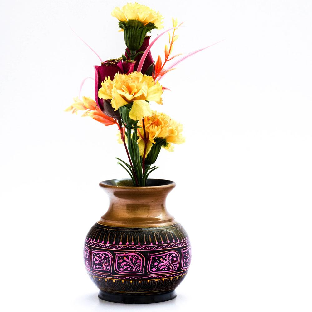 Handcrafted Lacquer Art Wooden Decorative Flower Pot Home Decor SAK D8