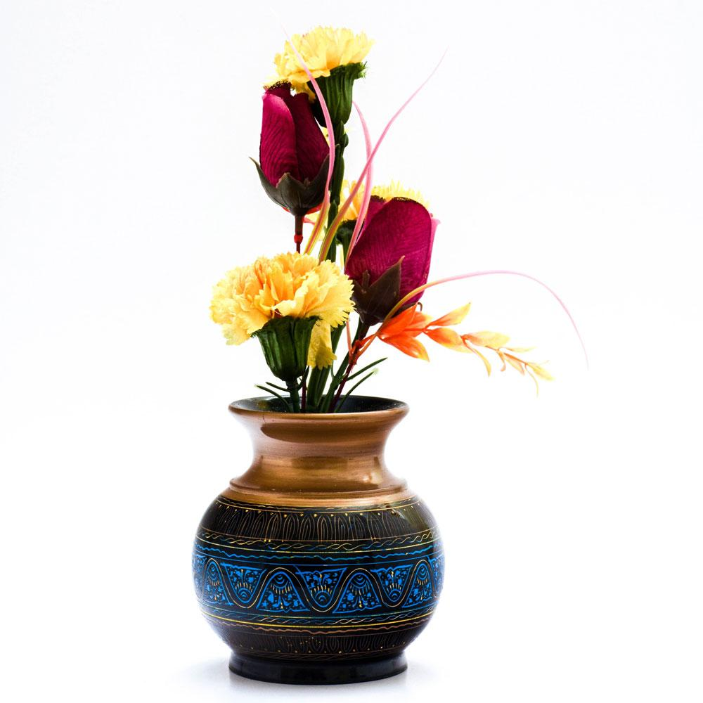 Handcrafted Lacquer Art Wooden Decorative Flower Pot Home Decor SAK D6